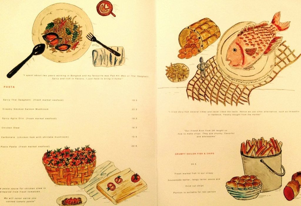 Well illustrated pages from the menu