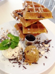 Yeasted Waffle with Peanut Butter, maple syrup and fresh double-whipped cream
