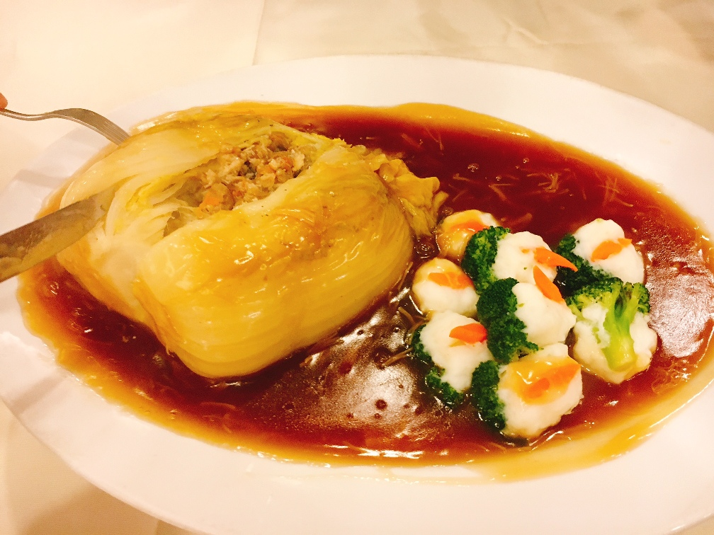 The-luscious-filling-in-the-Traditional-Stuffed-Whole-Chinese-Cabbage-with-stuffed-broccoli-and-dried-scallop-sauce.