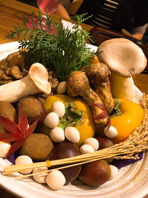 Autumn bounty --chestnuts, Matsutake and other mushrooms, ginkgo and persimmon