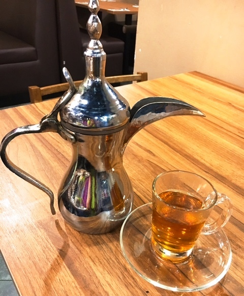 Mint tea steeped in this Aladdin lamp teapot