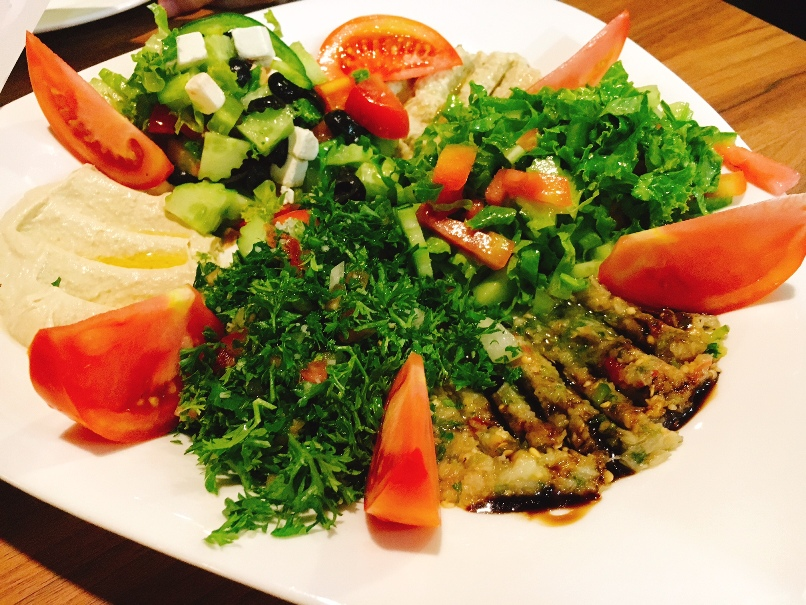 Mixed appetisers at Bedouin Hummous, baba-ganoush, tabouleh