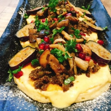 moussaka-pancakes-with-roasted-eggplant-spiced-beef-mushrooms-cheese-and-pomegranate