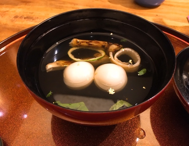 Soup of Matsutake Mushroom, Crab and Rice Dumpling