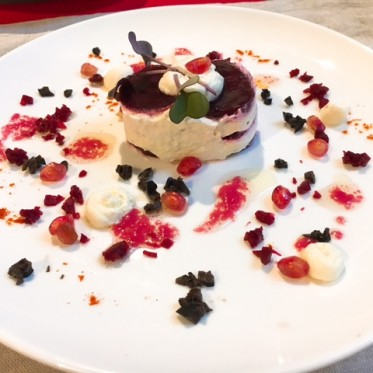 Beetroot and Feta Chantilly Millefeulles with Pomegranate Dressing