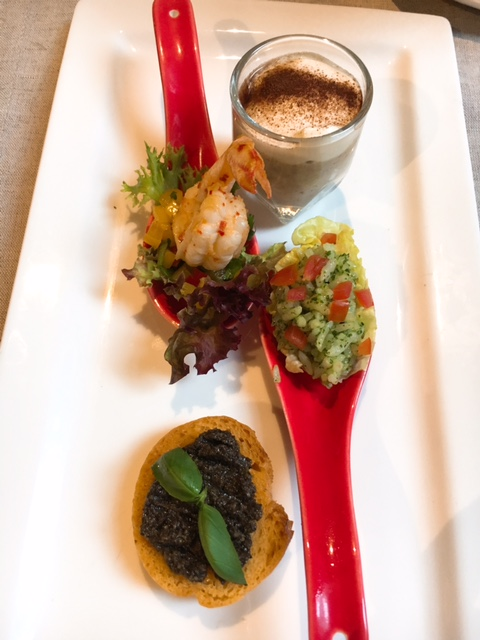 Canapes -- mushroom soup, prawn with mango salsa, fried rice with pesto, olive tapenade on toast