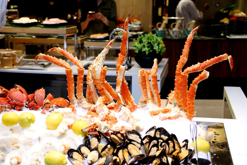 King crab, mud crab, mussels and scallops at the Seafood Station.