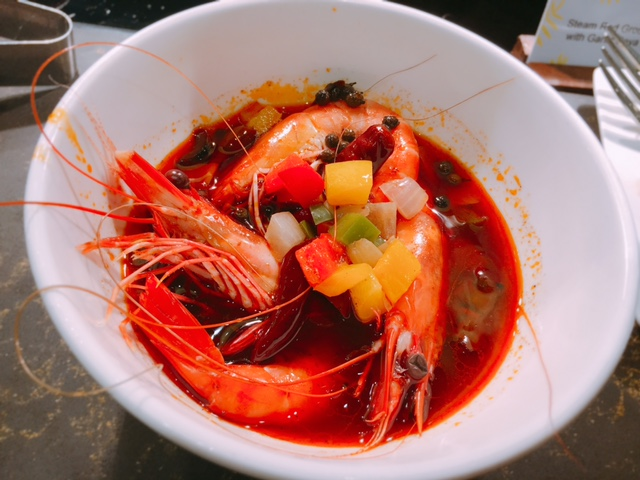Prawns in a Sichuan broth