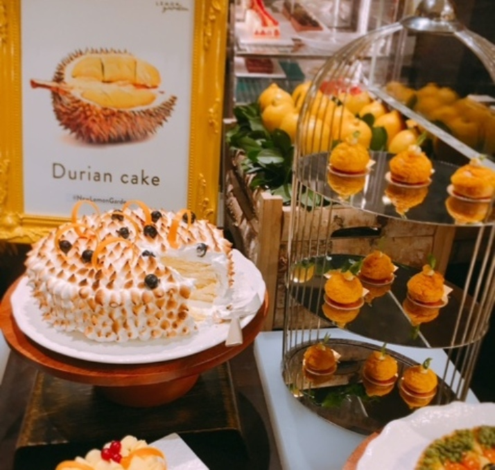 The Durian Cake takes pride of place on the dessert counter