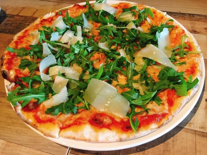 Alla Modi Rosa Pizza -- with rocket salad, truffle oil