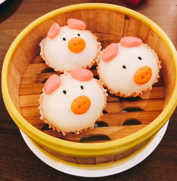 Cute Piglet Custard Buns or Lau Sar Pau