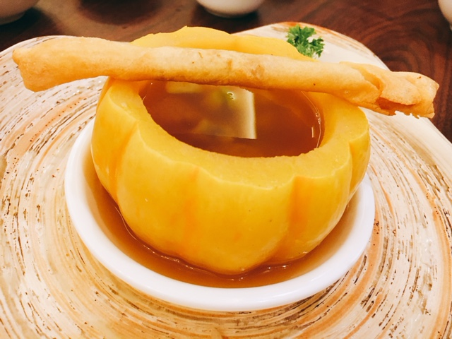 Double-boiled Seafood Soup in Baby Pumpkin with Crispy Roll