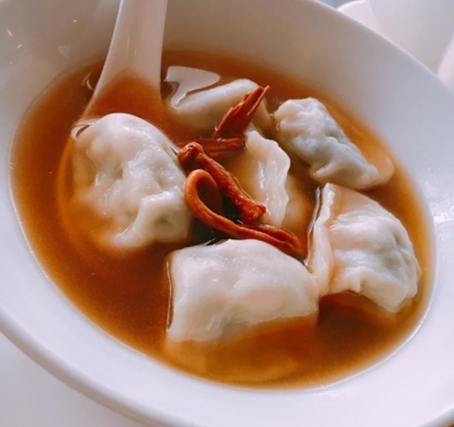 Watercress Dumplings with Cordycep Flowers in Soup