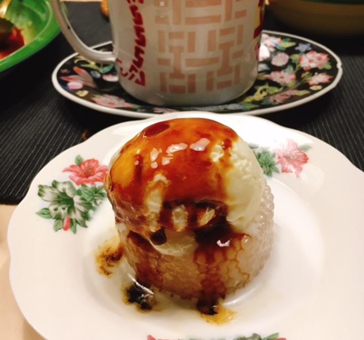 Sago Gula Melaka topped with ice cream
