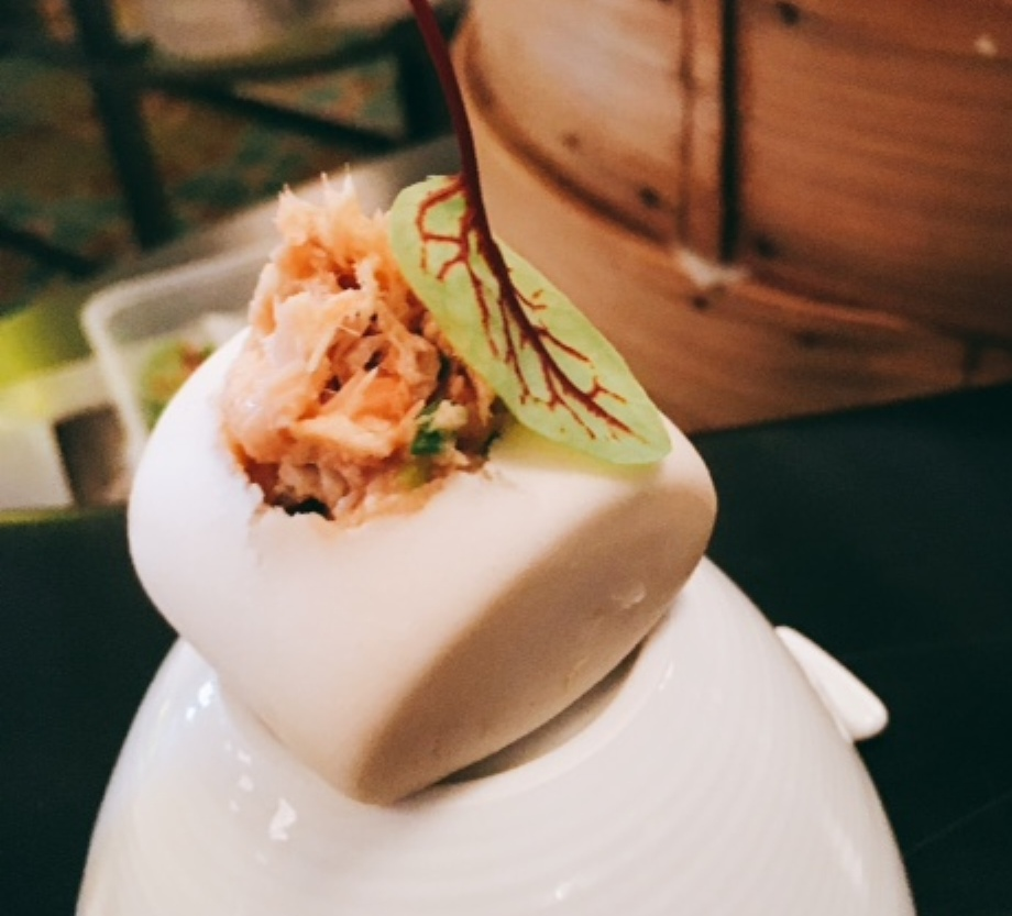 Pulled Salmon Mantou with ginger and scallion salsa