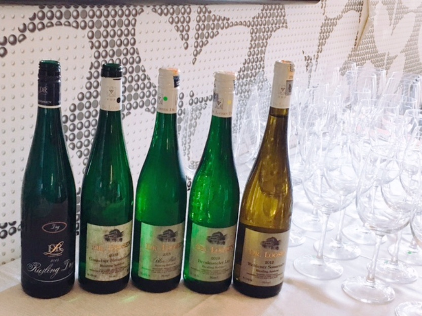 The range of Dr Loosen Riesling for our Chinese lunch