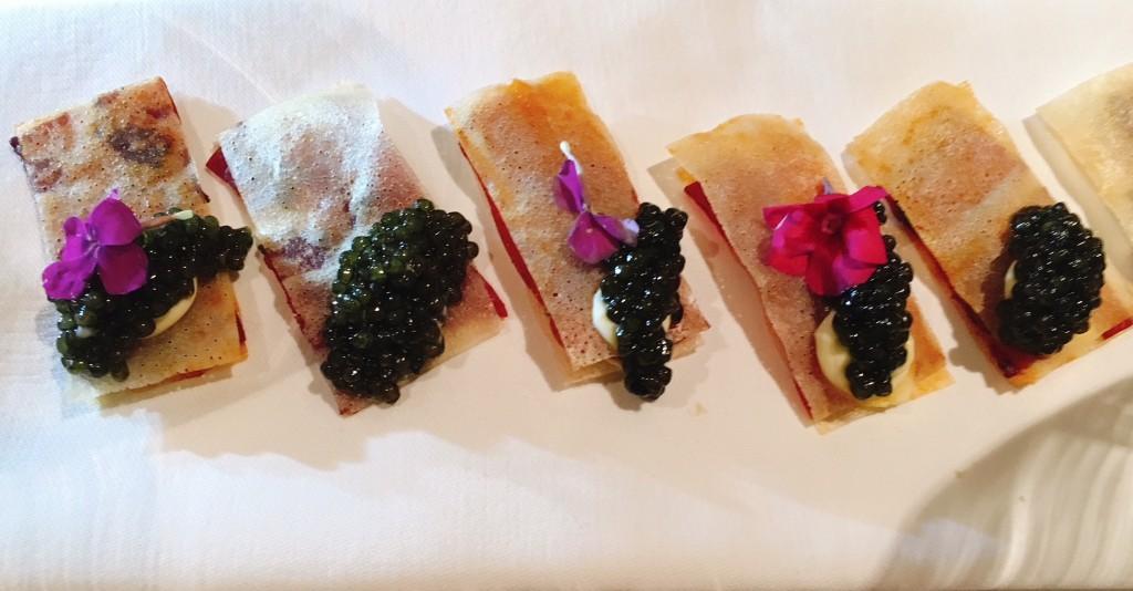Chef Millar's Signature Sturia Caviar on a Creme Fraiche Cracker