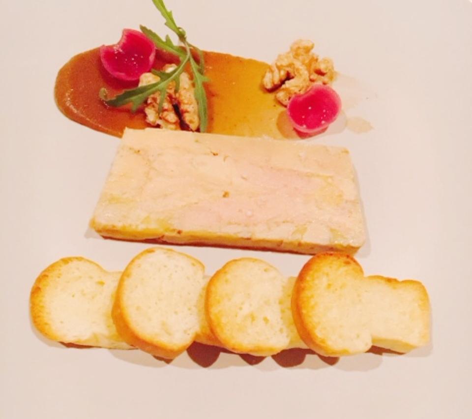 Cognac foie gras terrine with onion chutney and home-made brioche toast
