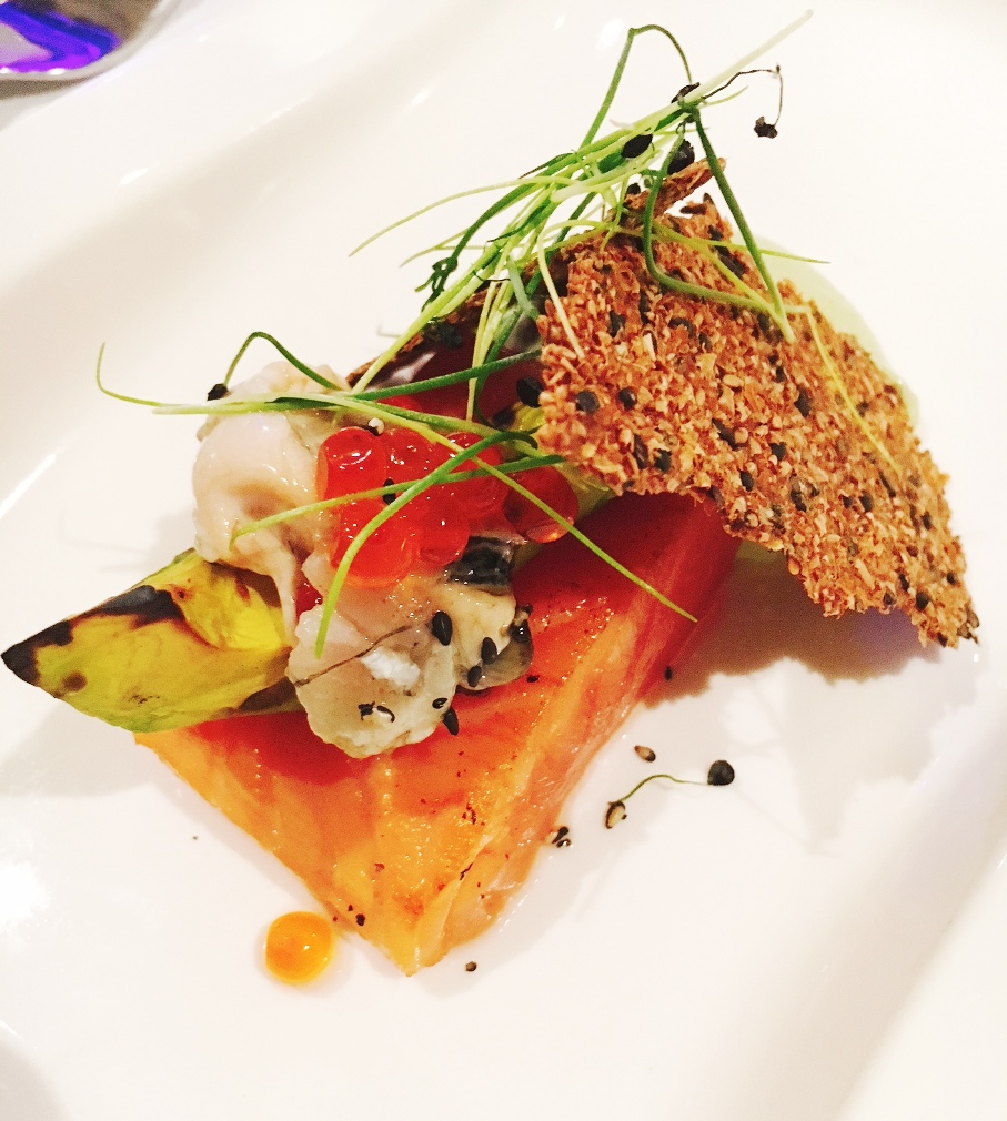 Flavours from Loch Fyne with Rock Rose Gin Marinated Salmon, Oyster, Avocado, Ikura