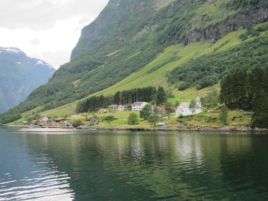 One of the towns perched on the fjord