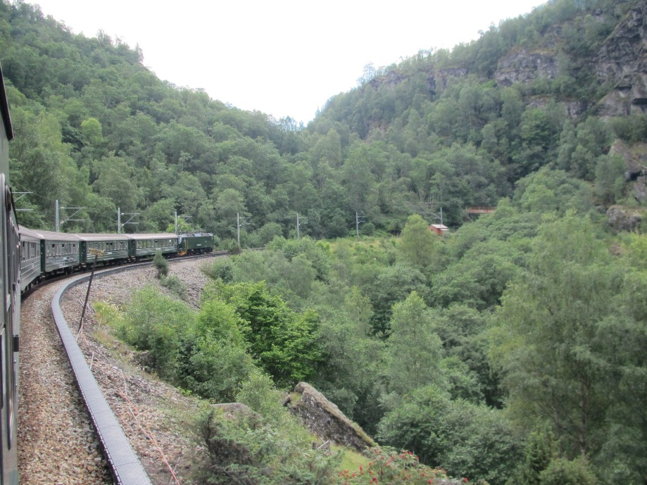 The Flam Railway, left, winding its way down the mountains