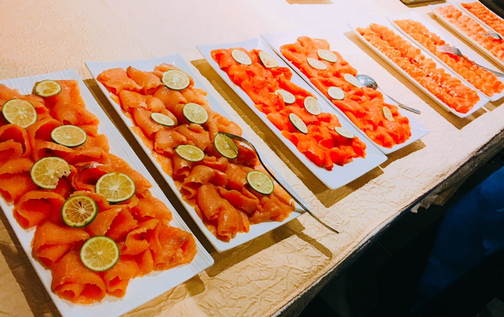 A taste of smoked salmon and smoked fjord trout, left, and fjord trout and salmon sashimi, right