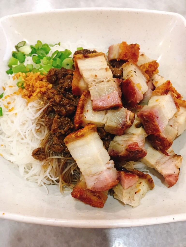 Roast Pork Noodles drizzled with a flavourful sauce