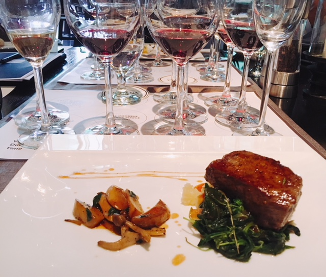 Manzo Giapponese con Patate e Spinaci or Wagyu Beef with Spinach and Potato, with the range of Maison de Grand Esprit wines