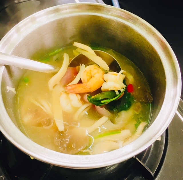 Tom Yum Goong -- ours was the country version -- strong in flavours which the chef approved