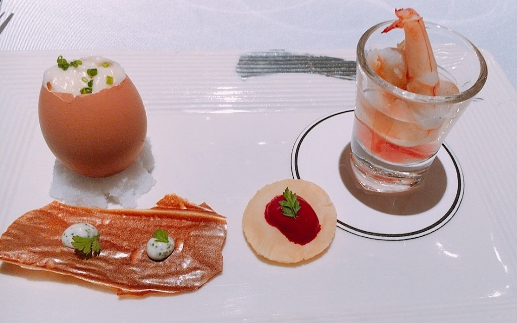 Amuse Bouche -- Crispy Scallop and Herbs, Smoked Celeriac Hen Egg, Shrimp with Tomato and Watermelon and Beetroot Tartlette