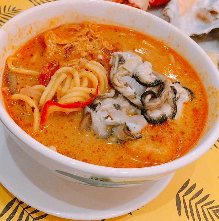 Curry Laksa with oysters added