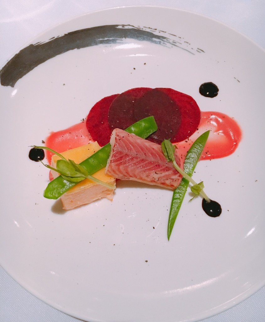 Amuse bouche of Smoked Trout, Eel Mousse, Beetroot slices