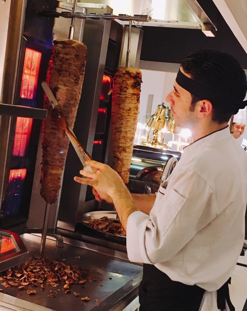 Shawarma -- lamb or chicken on  a spit to be eaten with pita bread