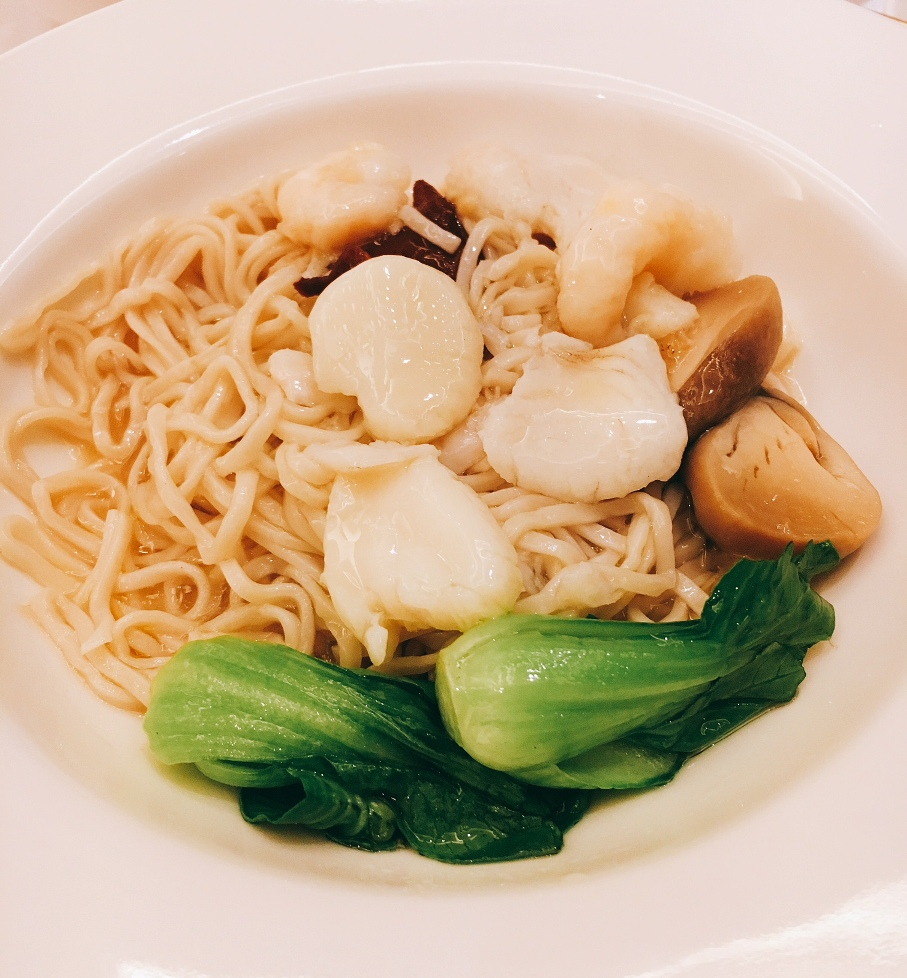 Stirfried Seafood Noodles with assorted mushrooms and truffle oil