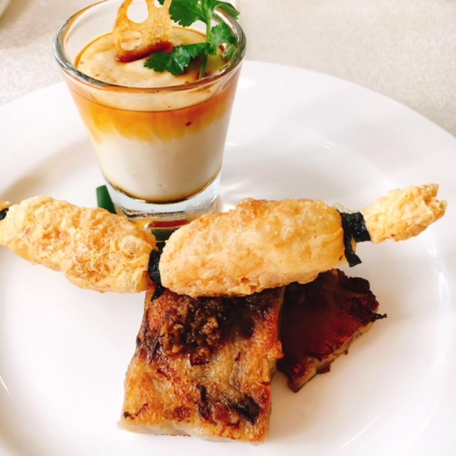 Homemade Cashewnut Tofu, Crunchy Beancurd Rll, Panfried Premium Wild Porcini Radish Cake