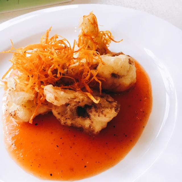 Cauliflower Tempura with red capsicum sauce