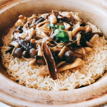 Wild Porcini with assorted mushrooms rice in claypot