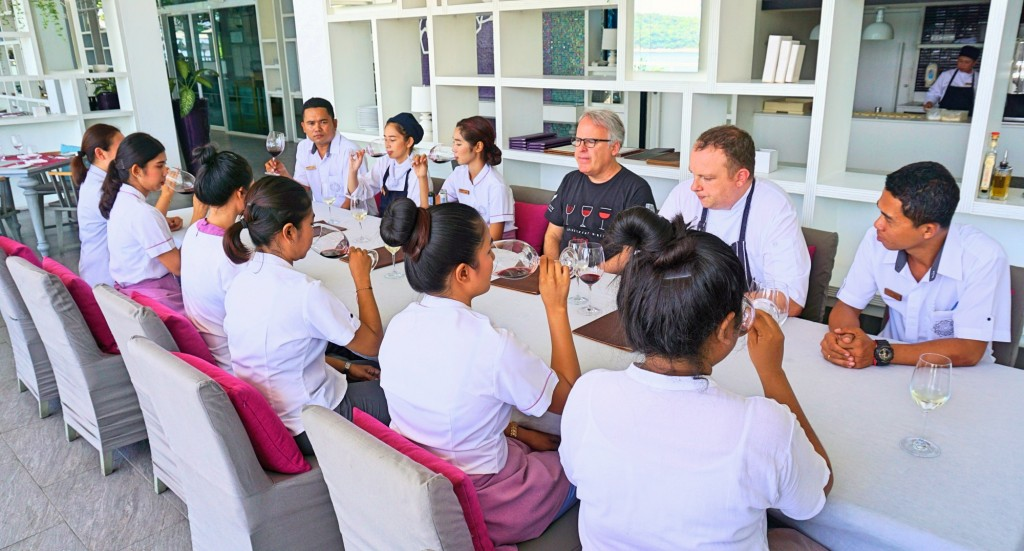 James Suckling at a wine class for staff at the hotel