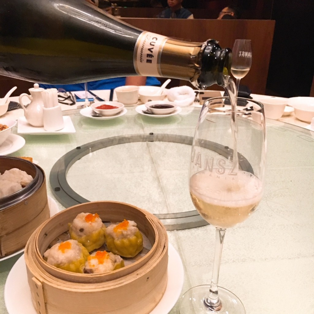 The Jansz Premium Cuvee poured for dimsum at the start