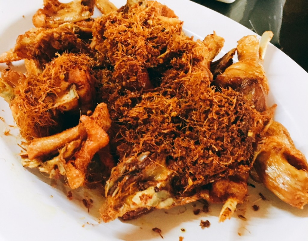 Fried salted chicken topped with crispy bits