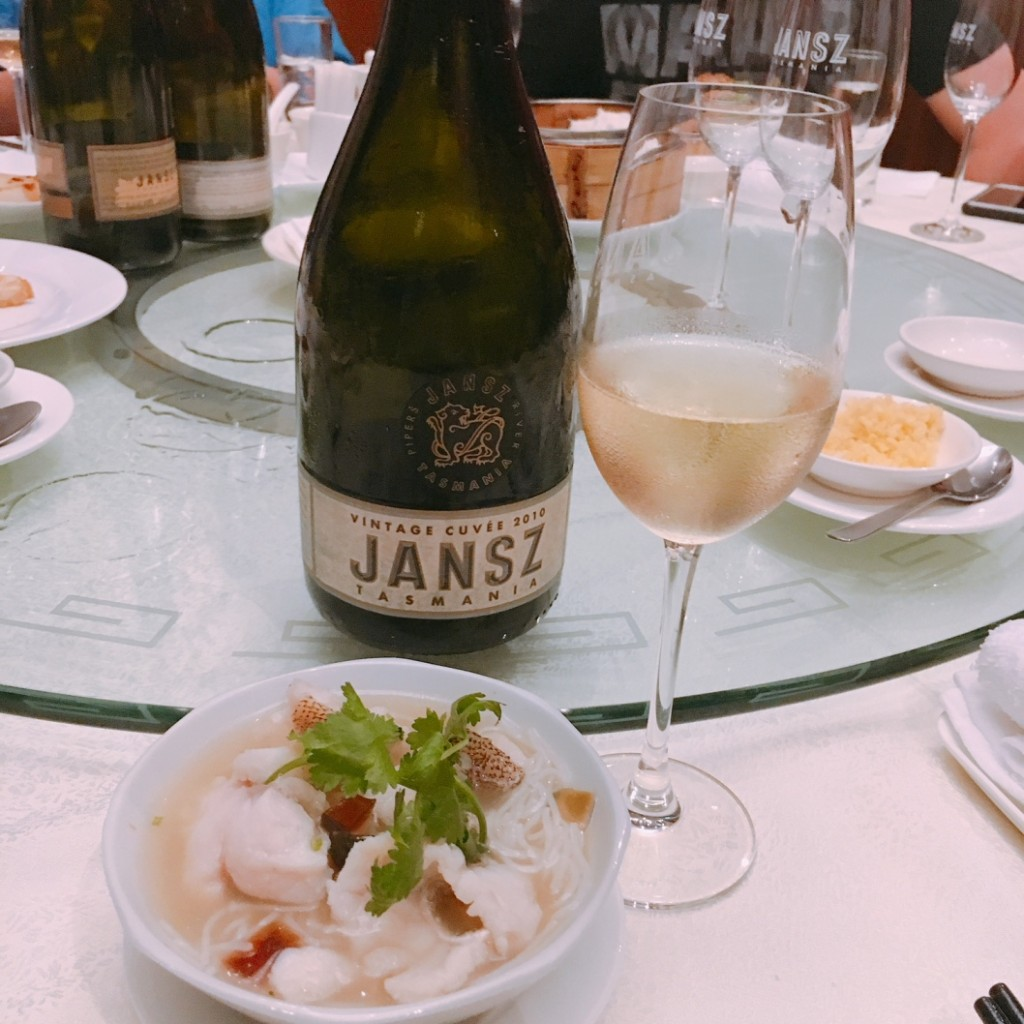 Janz Tasmania Vintage Cuvee 2010, a fine pairing with Simmered Vermicelli with Garoupa Fillet in Superior Broth