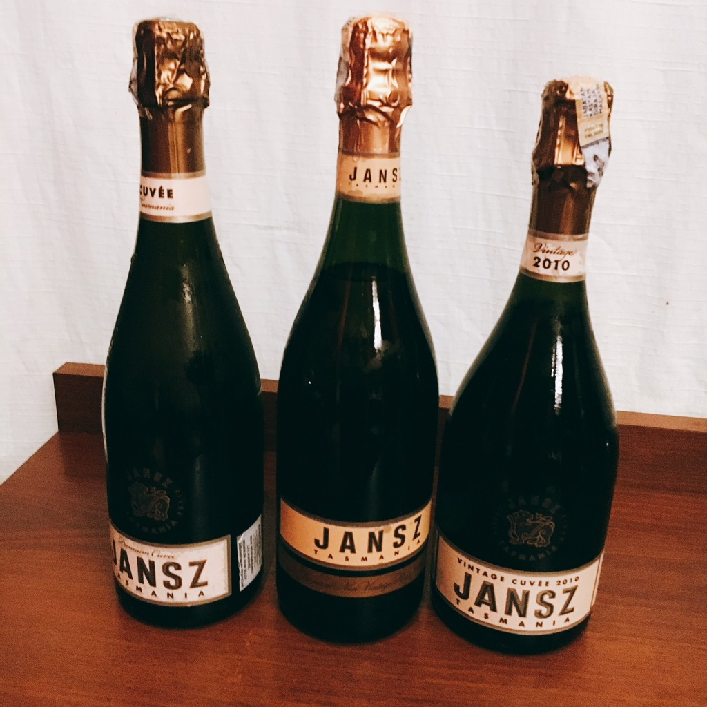 The three Jansz sparkling wines that made our lunch at Elegant Inn