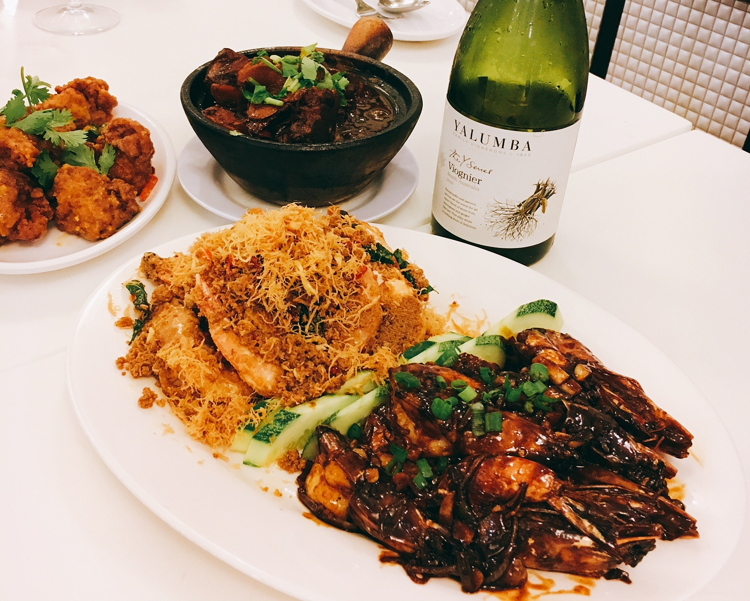 3 dishes at Oriental Cravings, and a good white wine