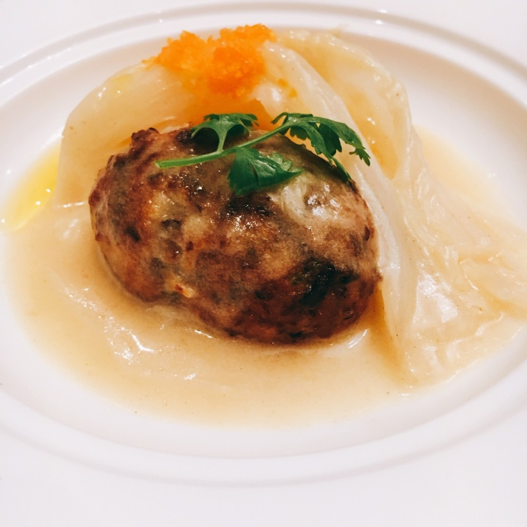 Pleasing -- Braised Chanterelle Mushroom Ball & Chinese Cabbage in Dijon Mustard