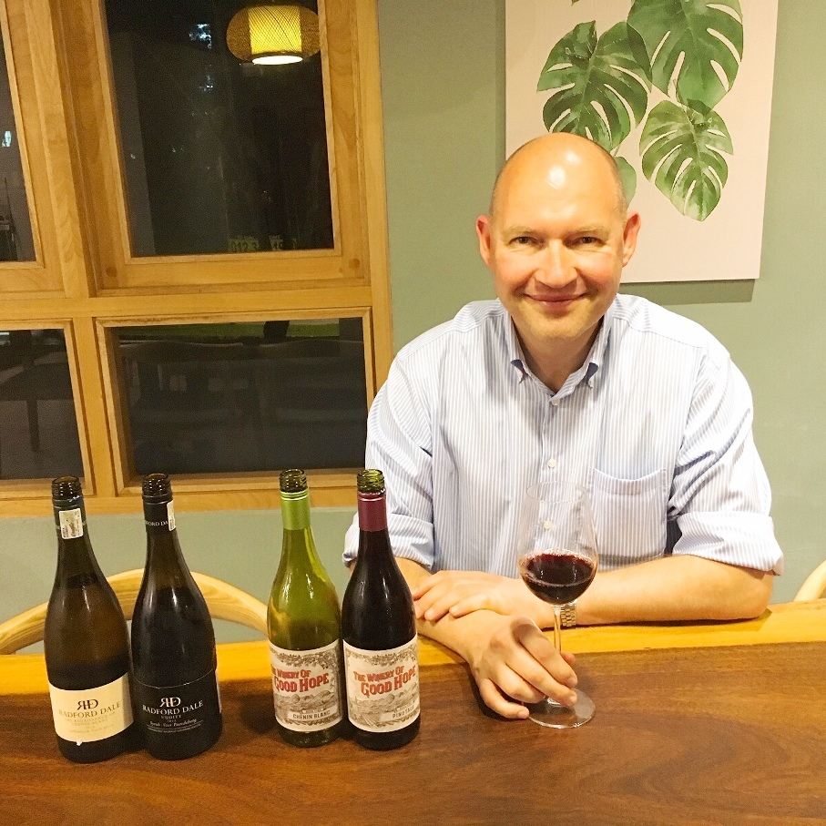 Alex Dale with Radford Dale wines and The Good Hope Winery wines