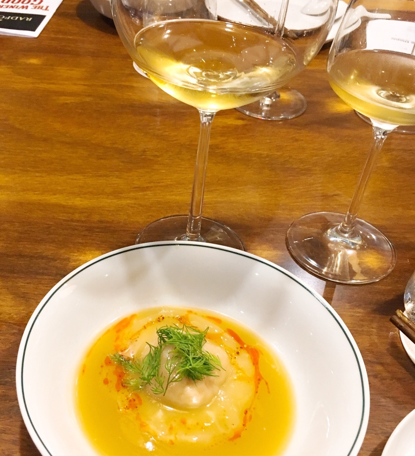 Seafood Dumpling so excellent with the Chenin Blanc